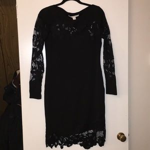 DVF black dress lace detail and belt!